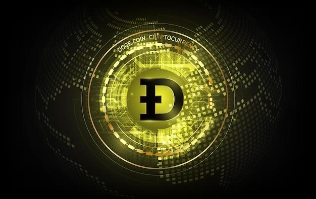 Goldene dogecoin digitale währung, futuristisches digitales geld auf finanzdiagramm, doge, dogecoin technologie abstraktes hintergrundkonzept, vektorillustration