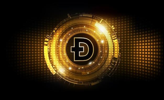 Goldene dogecoin digitale währung futuristisches digitales geld finanzdiagramm doge dogecoin hintergrund.