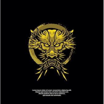Goldene drachenkopf logo vorlage