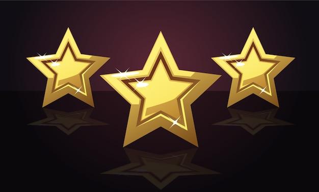 Goldene drei bewertungssterne