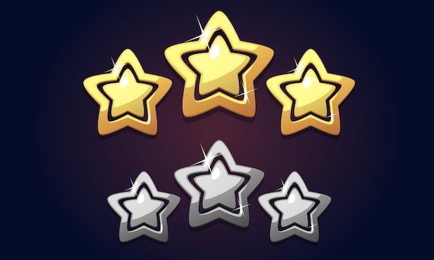 Goldene drei-sterne-ikonenbewertung lokalisiert