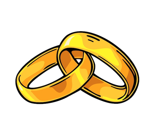 Goldene eheringe. handgezeichnet in einem grafischen stil. flache illustration des weinlesefarbvektors für infographik, plakat, netz. isoliert auf weißem hintergrund