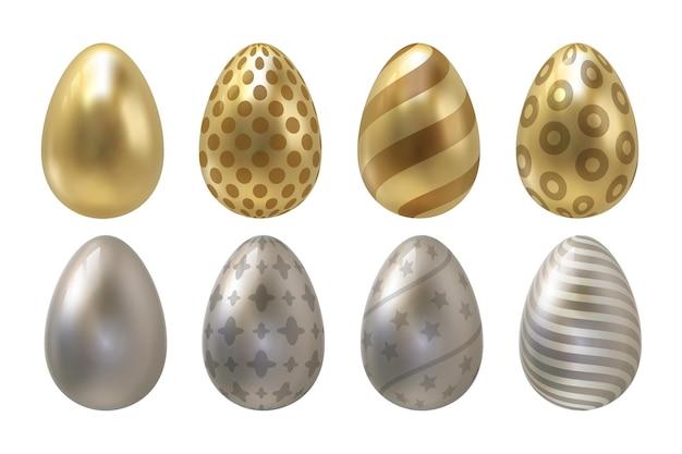 Goldene eier. osterfeiertagsfeierelement mit spiralförmigem punkt- und linienmuster, realistisches luxusdekorationssymbol. vektorillustrationseier eingestellt für grußkarten und anzeige