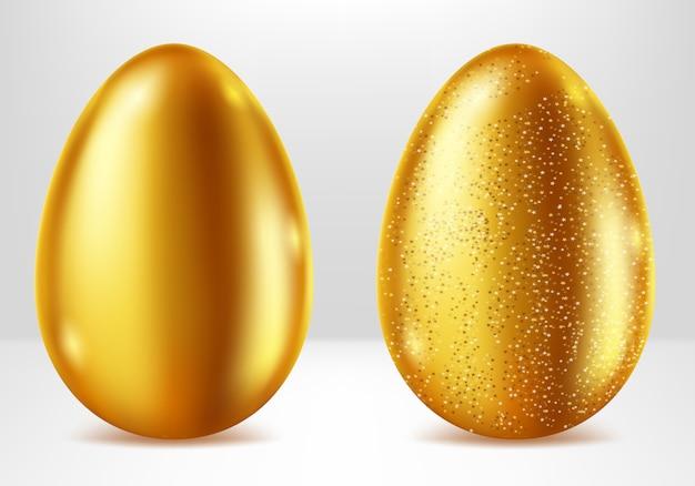 Goldene eier, realistisches ostermetallgeschenk