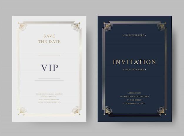 Goldene einladungskartenschablone der luxusweinlese