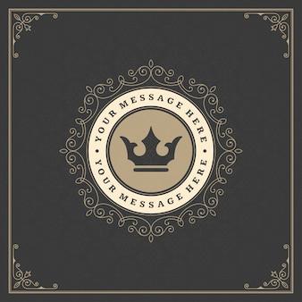Goldene elegante flourishesverzierungen des vintagen logos
