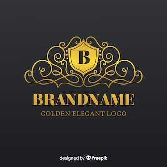 Goldene elegante logoschablone mit verzierungen