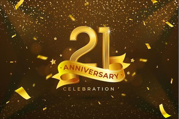 Goldene elemente im hintergrund des 21-jährigen jubiläums