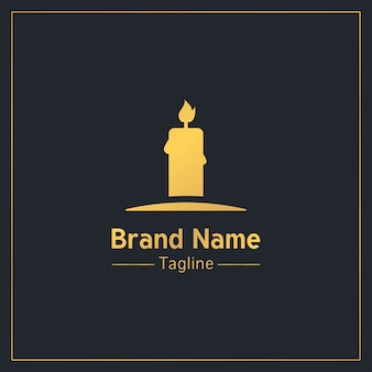 Goldene ernsthafte logo-schablone der brennenden kerze