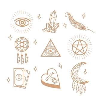 Goldene esoterische elemente Kostenlosen Vektoren