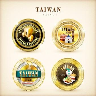 Goldene etiketten der taiwan-gedenkstätte lokalisiert auf beigem hintergrund
