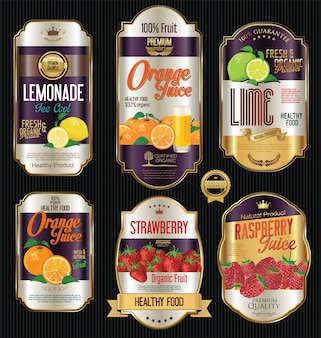 Goldene etiketten für bio-obstprodukte