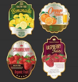 Goldene etiketten für organisches fruchtprodukt
