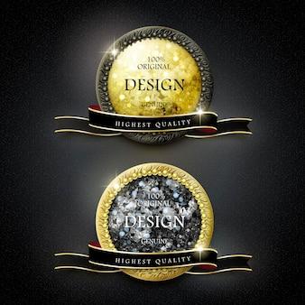 Goldene etiketten in premiumqualität mit rautenelementen auf schwarzem hintergrund