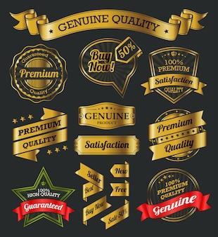Goldene Etiketten und Bänder