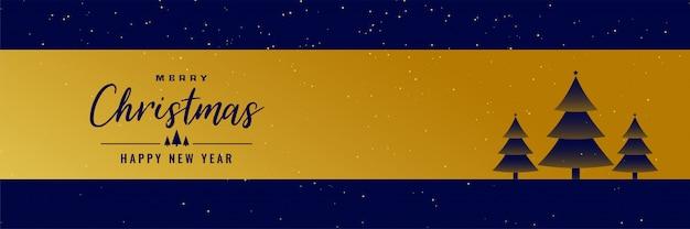 Goldene fahne der frohen weihnachten mit baumdesign
