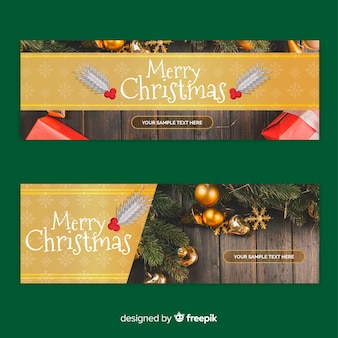 Goldene fahne der weihnachtsfotografie