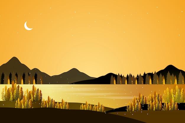 Goldene fantasie seelandschaft
