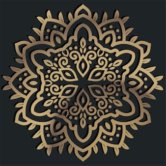 Goldene farbe des mandala-ornaments oder des blumenhintergrunddesigns.