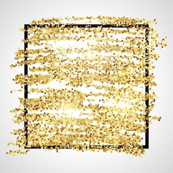 Goldene farbe glitzernde kulisse mit schwarzem quadratischem rahmen auf weißem hintergrund. hintergrund mit goldfunkeln und glitzereffekt. leerer platz für ihren text. vektor-illustration