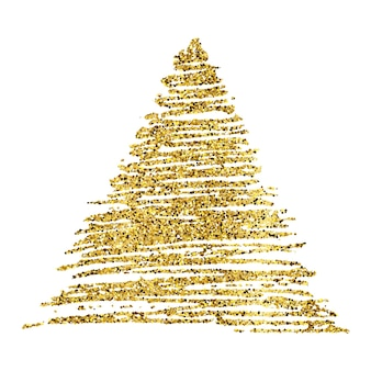 Goldene farbe handgezeichnetes glitzerndes dreieck auf weißem hintergrund. hintergrund mit goldfunkeln und glitzereffekt. leerer platz für ihren text. vektor-illustration
