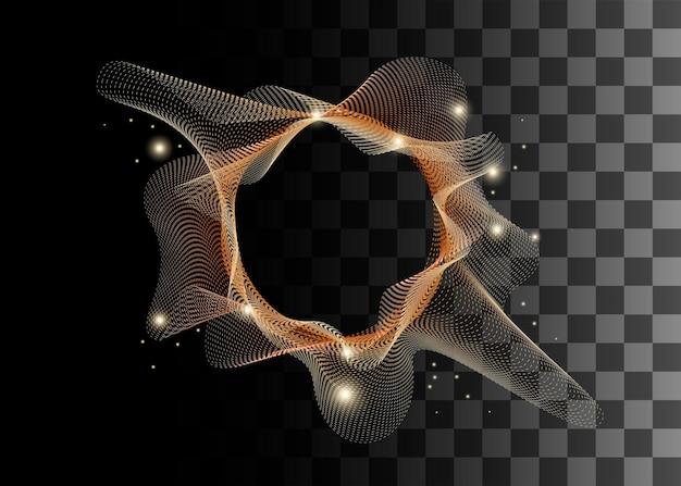 Goldene farbeffekt-vektorillustration des abstrakten gestaltungselements auf transparentem hintergrund.