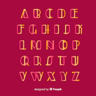 Goldene farbverlauf alphabet vorlage