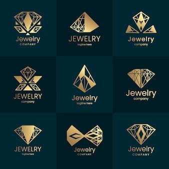 Goldene farbverlauf schmuck logo sammlung
