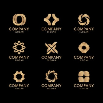 Goldene firmenlogo-kollektion