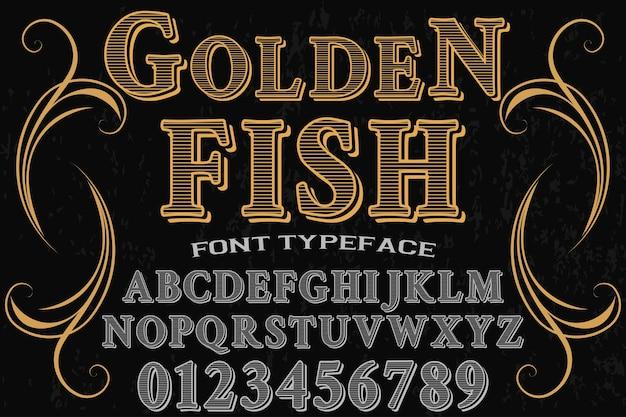 Goldene fische der typografie-schriftart