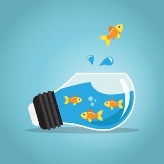 Goldene fische, die außerhalb der fishbowlbirne springen