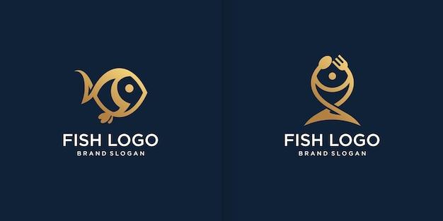 Goldene fischlogoschablone mit modernem kreativem stil premium-vektor