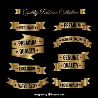 Goldene flache premium-qualität bänder