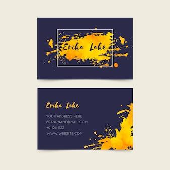 Goldene fleckschablonen-visitenkarte