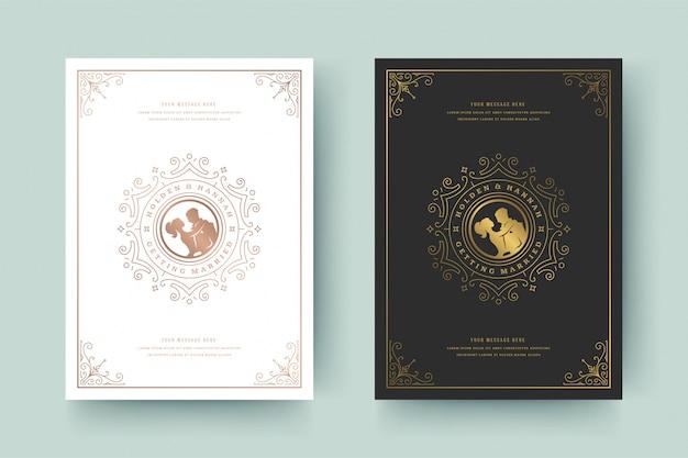 Goldene flourishes der hochzeitseinladungskarten-schablone verzieren vignettenstrudel. vintage viktorianischen rahmen und dekorationen.