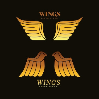 Goldene flügel federn vögel silhouette stil ikonen illustration design
