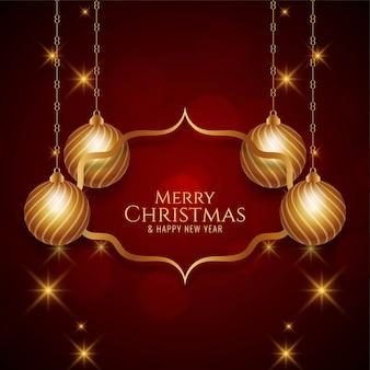 Goldene frohe weihnachten festlicher hintergrund