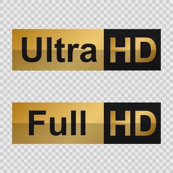 Goldene full hd- und ultra hd-etiketten. zeichen der modernen technologie
