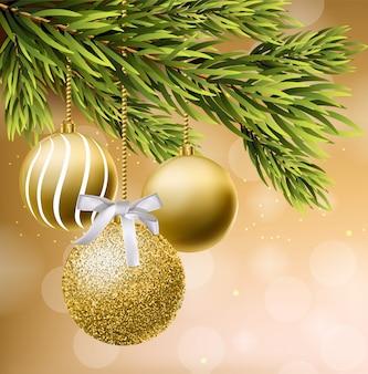Goldene funkeln weihnachtskugeln