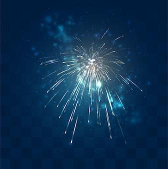 Goldene funken des vektorfeuerwerks auf mosaikblauhintergrund, bequemes bearbeitbares gestaltungselement