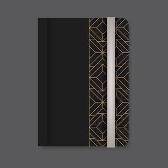 Goldene geometrische musterabdeckung eines schwarzen tagebuchvektors