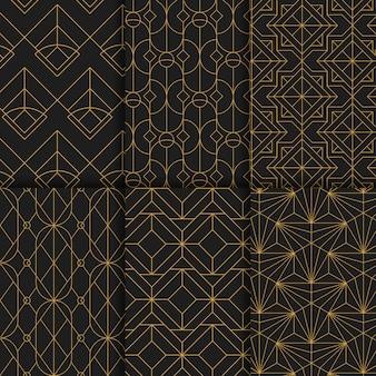 Goldene geometrische nahtlose Muster stellten auf schwarzen Hintergrund ein