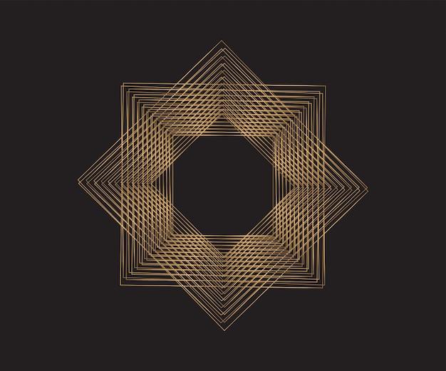 Goldene geometrische rahmen. abstrakter hintergrund.