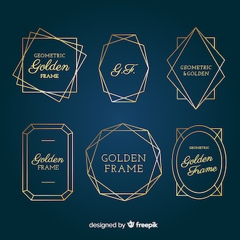 Goldene geometrische rahmensammlung