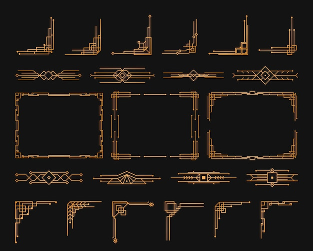 Goldene geometrische schablone im stil der 1920er jahre, art-deco-ecken für ränder und rahmen.