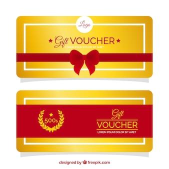 Goldene geschenk-gutscheine mit roten details