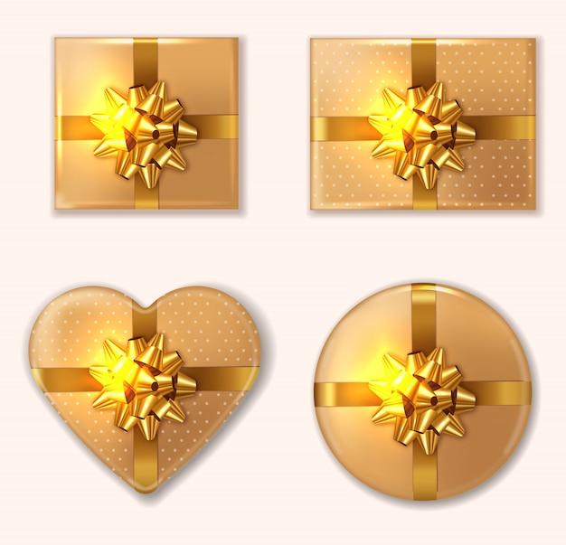 Goldene geschenkbox-kollektion