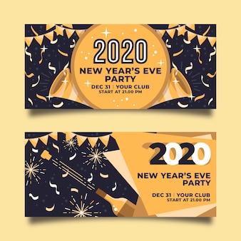 Goldene girlande und fahnen des neuen jahres 2020 des konfettis
