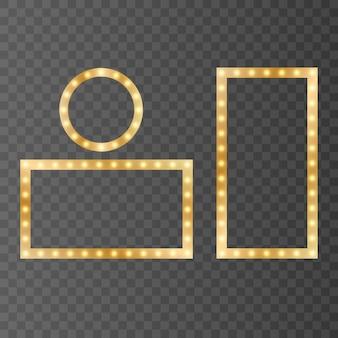 Goldene glänzende rahmen lokalisiert auf einem transparenten hintergrund. goldene farbverlaufsrahmen mit licht. rahmen einstellen