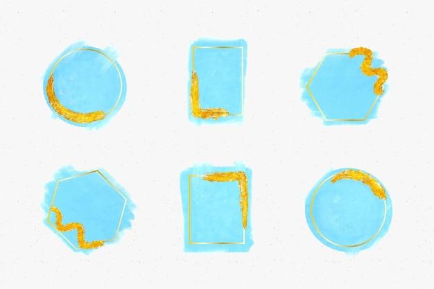 Goldene glitzerrahmensammlung mit aquarellpinselstrichen